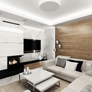 W salonie prym wiodą biel i drewno. Na uwagę zasługuję ściana telewizyjna wykończona białym marmurem z delikatnymi ciemnymi żyłkami. Ta sama okładzina pojawiła się również na podłodze wzdłuż kominka i w holu. Fot. MTM Styl