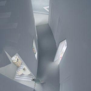 """Bryła """"przybudówki"""" z jednej strony jest wydłużona i wysoka, z drugiej strony okalają ją poszczególne pomieszczenia, gdzie mieszkają mieszkańcy. Fot. Hideyuki Nakayama Architecture"""