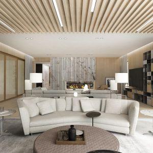 Ciekawe modernistyczne wrażenie robi częściowo drewniany sufit. Fot. Wyrzykowski Studio