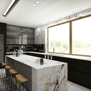 Meble kuchenne zostały wykończone dębowym fornirem barwionym na ciemny kolor. Fot. Wyrzykowski Studio
