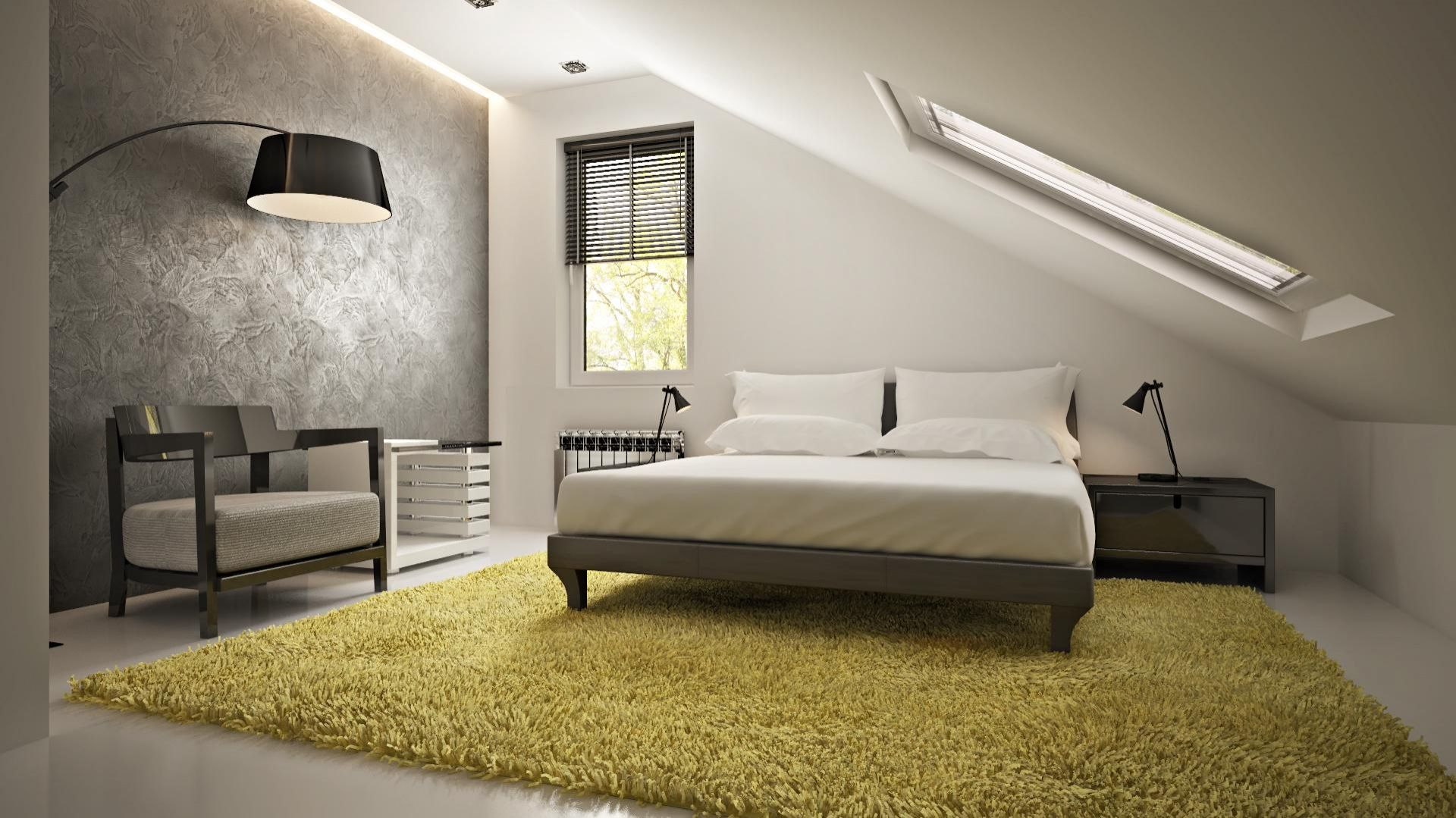 Urządzając sypialnię na poddaszu można ustawić łózko pod oknem dachowym. Umożliwi to podziwianie gwiazd przed zaśnięciem. Fot. Z500