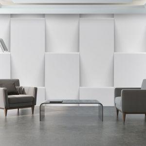 Do stylistyki minimalistycznej i modernistycznej szczególnie wpasują się trójwymiarowe tapety, które przedstawiają układy geometryczne. Fot. Demural