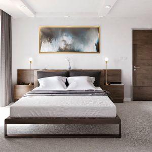 Wsypialni wykorzystano delikatne odcienie beżów ibrązu. Fot. Domy w Stylu