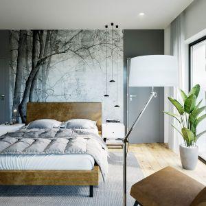 Ciekawym uzupełnieniem aranżacji sypialni jest fototapeta za łóżkiem. Fot. HomeKONCEPT