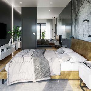Duże lustro optycznie powiększa wnętrze sypialni. Fot. HomeKONCEPT