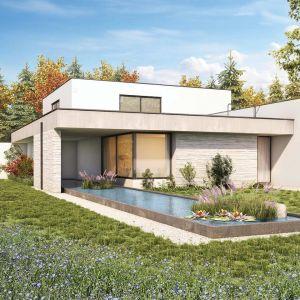 Coraz większą popularnością cieszą się także domy o dachach płaskich. Minimalistyczny wygląd takich obiektów doskonale wpisuje się w aktualne trendy nowoczesnego budownictwa, bazującego na geometrii i prostocie. Fot. Galeco