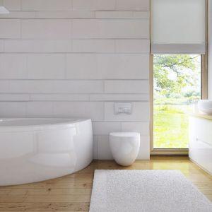 Zaletą łazienki jest dostęp do naturalnego światła przez podłużne okno. Fot. Z500