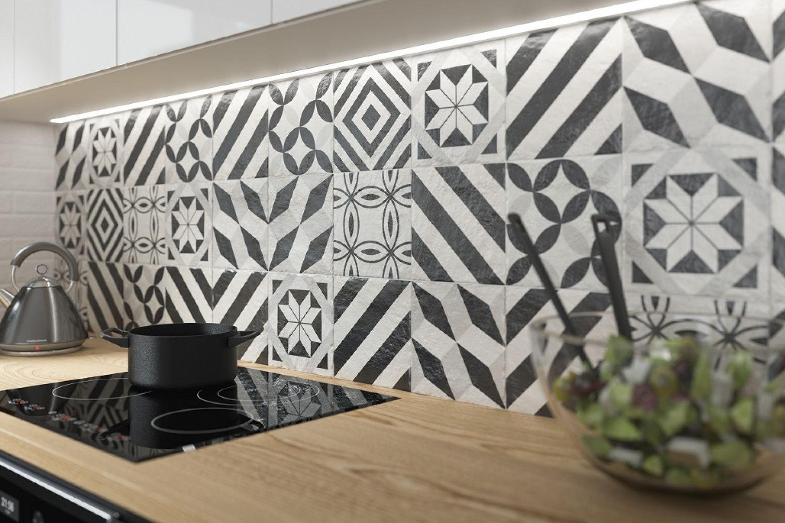 Czarno-białe grafiki na niewielkim formacie sprawdzą się_ jako element dekoracyjny w każdym pomieszczeniu. Fot. Ceramika Paradyż