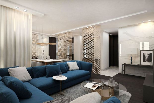 W apartamencie pojawiają się wyjątkowe meble, stylizowane na lata 30. ubiegłego wieku, wysokiej jakości materiały, wyeksponowane ciekawymi dodatkami. Szczególnie interesującą propozycją są ażurowe panele w kolorze złotym, które nadają wnęt