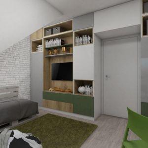 Pokój młodszego syna właścicieli jest na równi efektowny i funkcjonalny. Całą długą ścianę od podłogi do sufitu zajmuje zabudowa z szafami, szafkami o otwartymi półkami. Fot. Pracownia Architektoniczna MGN