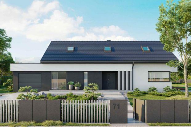 HomeKONCEPT 71 to dom z poddaszem użytkowym, o prostej bryle zaprojektowany w stylu nowoczesnym.