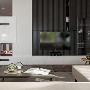 Dominującą biel przełamuje m.in. ścianka telewizyjna w ciemnym, grafitowym kolorze. Fot. HomeKONCEPT