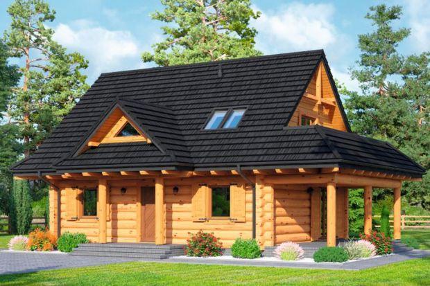 Modrzewo DW to projekt małego domuz bali drewnianych z poddaszem użytkowym.