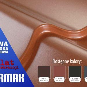 Powłoka hybrydowa PURMAX występuje w czterech kolorach: cegła, brąz, czerń oraz ciemny grafit i jest to połączenie 25 µm powłoki poliestrowej na 15 µm warstwie poliuretanu. Fot. Blachy Pruszyński