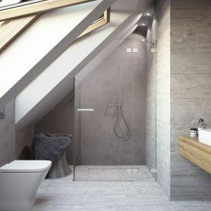 Jeśli w łazience występują skosy lub wnęki warto je zagospodarować np. stawiając w nich kabinę prysznicową. Fot. Radaway