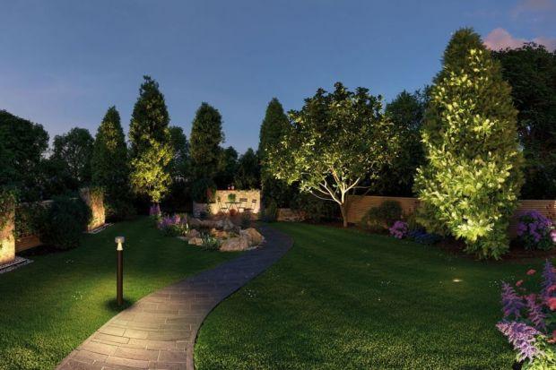Ogród nowocześnie oświetlony