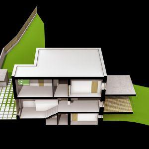 Przekrój modelu domu, widok wszystkich kondygnacji oraz usytuowania budynku na dzialce. Wiz. BXBstudio Bogusław Barnaś