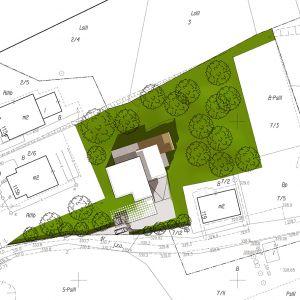 Rozrys działki z usytuowaniem budynku - widok z góry. Wiz. BXBstudio Bogusław Barnaś