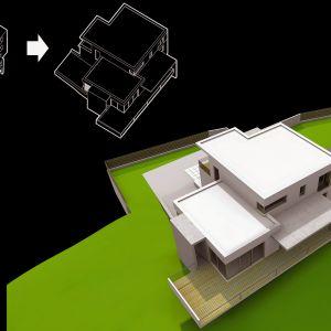 Widok z góry pozwala ocenić, w jaki sposób architekci rozbudowali prostą bryłę budynku. Wiz. BXBstudio Bogusław Barnaś