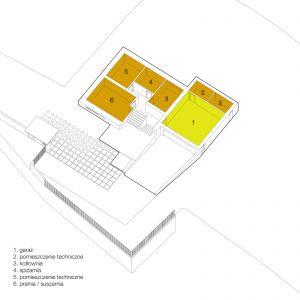 Widok pomieszczeń na najniższej kondygnacji domu (wysoka piwnica) po przebudowie kostki. Wiz. BXBstudio Bogusław Barnaś