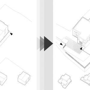 Projekt modernizacji domu-kostki zakładał nie tylko face-lifting elewacji budynku oraz nową aranżację wewnętrznego układu funkcjonalnego, ale przede wszystkim rozbudowę domu. Wiz. BXBstudio Bogusław Barnaś