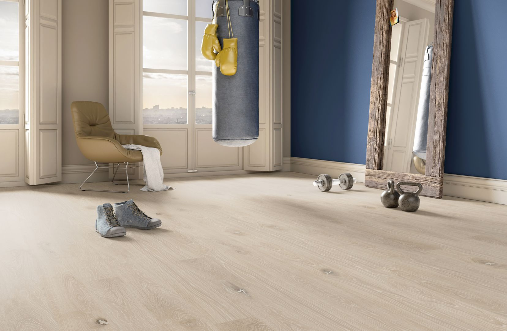 Dobrą bazą do aranżacji ton w ton jest podłoga TWO_4HIM z kolekcji Jeans Collection by Baltic Wood. Jej szczotkowaną powierzchnię pokrywa bejca w odcieniu kości słoniowej, która wnika w pory drewna, połączona z bejcą w kolorze kremowym. Podłoga TWO_4HIM w zestawieniu z meblami oraz dodatkami w kolorze beżu eksponuje minimalizm i elegancję pomieszczenia. Fot. Baltic Wood