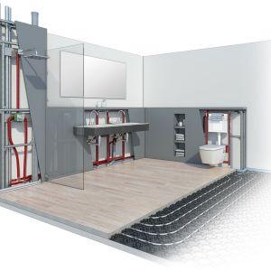 Systemy instalacyjne – ukryte pod posadzką lub w ścianie, stanowią niezbędny element wyposażenia i umożliwiają swobodne korzystanie z łazienki. Fot. TECE