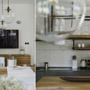 W mieszkaniu drewno w ciekawy i przyjemny dla oka sposób łączy się ze stalą. Fot. Studio.O