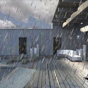 Dach wysunięto wspornikowo przed przeszklenie na prawie 3 metry, tak by skutecznie ochronić przeszklenie i taras przed przegrzewaniem i deszczem. Fot. Studio BB Architekci