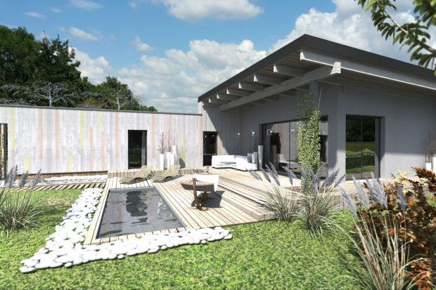 Dom z Uniesionym Dachem - nowoczesny, parterowy, jednorodzinny