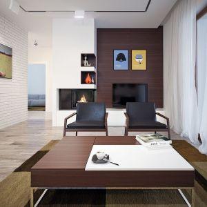 Niewielka ścianka telewizyjna jest wykończona drewnem. Fot. Archetyp