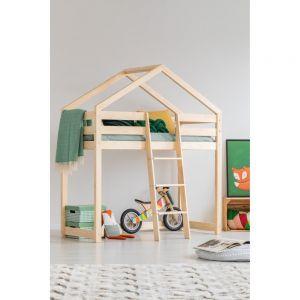Łóżko piętrowe w kształcie domku z drewna sosnowego. Fot. Bonami.pl