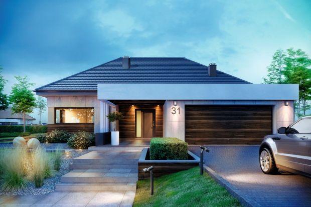 Projekt nowoczesnego domu parterowego (141,64 m kw.) z garażem na dwa samochody