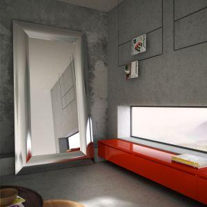 Mirror to idealne połączenie lustra z grzejnikiem. Lustrzaną taflę oprawiono w ramę, która grzeje. W efekcie powstał stojący grzejnik-lustro o dużej mocy grzewczej. Producent: AdHoc, www.adhoc.pl