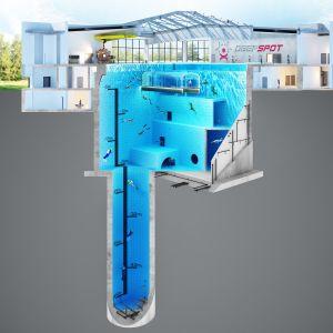 Zaawansowana konstrukcja basenu pozwoli na idealne dostosowanie obiektu do potrzeb treningowych nurków. Fot. Deepspot