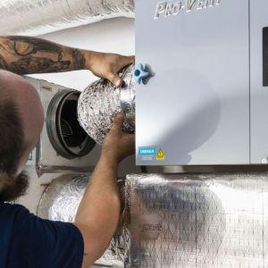 Krok 5. Po zamocowaniu filtra montowane są kanały wentylacyjne na odcinkach prowadzących od rekuperatora do filtra Clean R oraz od filtra do instalacji. Fot. Pro-Vent
