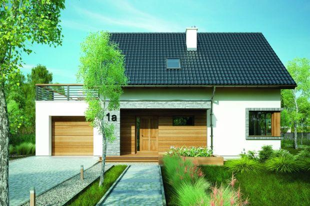 Projekt małego domu z poddaszem użytkowym i garażem