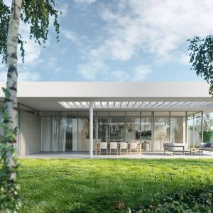 Od strony ogrodu i lasu dom jest w pełni otwarty na otoczenie i przyrodę za sprawą całościennych przeszkleń. Fot. 81.WAW.PL