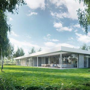 Dom pod linią to projekt willi, której najbardziej charakterystycznym elementem jest biała krawędź dachu. Fot. 81.WAW.PL