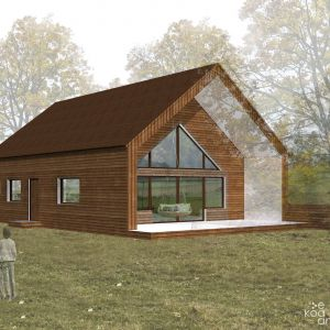 Dom naturalny przy rzece - projektowany w technologiach naturalnych: szkielet drewniany wypełniany kostkami słomy, naturalne tynki, naturalne wykończenie i akumulacyjny piec w samym sercu. Fot. eKodama