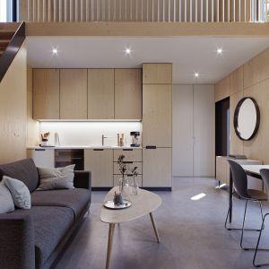 We wnętrzu dominuje ciepłe, jasne drewno oraz jasne sufity i fronty szaf w tym samym kolorze. Fot. Modulo