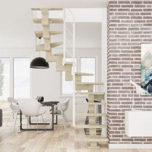 Schody Milo z balustradą Weld Rurki. Konstrukcja i stopnie z mozaiki bukowej w kolorze bielonym. Fot. Rintal Polska