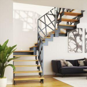 Schody Twin z balustradą Weld Profile. Konstrukcja metalowa w kolorze grafitowym. Stopnie dębowe w kolorze natura. Fot. Rintal Polska