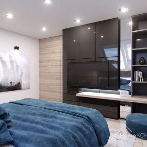 Wnętrze sypialni ożywiają turkusowe barwy. Fot. HomeKONCEPT