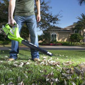 Sterty żółtych, czerwonych i szarych liści pokrywają trawnik, grządki i ścieżki – jak co roku. Pora rozprawić się z nimi nowoczesnymi metodami. Fot. Greenworks, Lange Łukaszuk