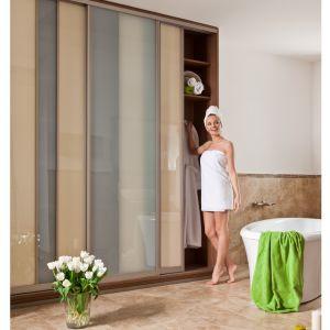 Propozycja firmy Sevroll z możliwością stosowania łączników w wypełnieniu drzwi w pionie. Dzięki temu szafa sprawia wrażenie bardzo delikatnej nawet przy dużych wymiarach. Fot. Sevroll