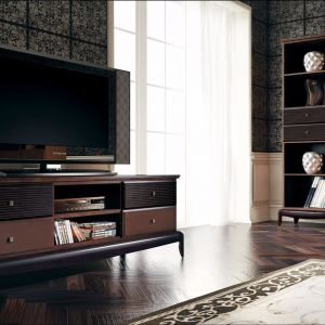 Szafka RTV z kolekcji  Davos firmy Bogatti to elegancka propozycja do salonu Telewizor można na niej ustawić lub zawiesić tuż nad nią. Fot. Bogatti