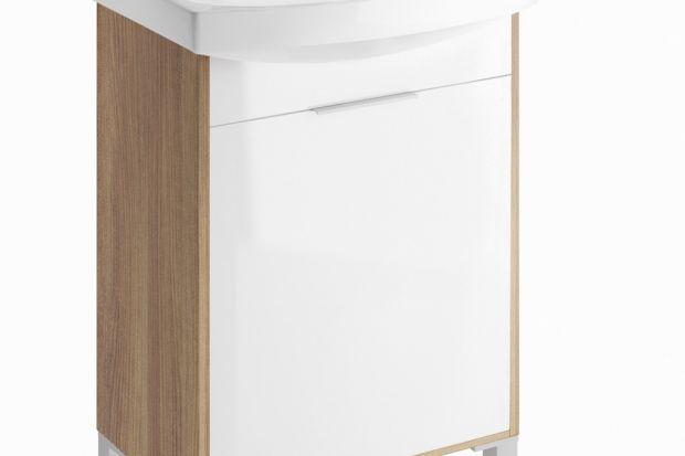"""Kolekcja mebli do łazienki """"Bamako"""" to modne połączenie bieli na wysoki połysk z kolorem ciemnego jesionu. Idealna dla miłośników niestandardowych wnętrz."""