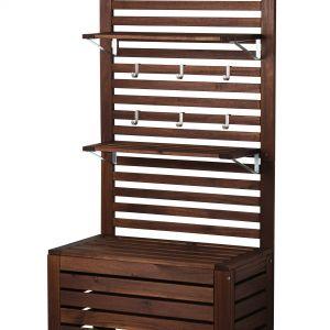 Moduł do przedpokoju będący jednocześnie skrzynią, siedziskiem oraz wieszakiem. Fot. IKEA
