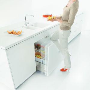 Firma Blum system do segregacji odpadów łączy z systemem otwierania na dotyk, który umożliwia utrzymanie frontów w czystości – otwarcie szafki wymaga jedynie delikatnego pchnięcia frontu, nie zaś jego pociągnięcia za np. uchwyt. Fot. Blum